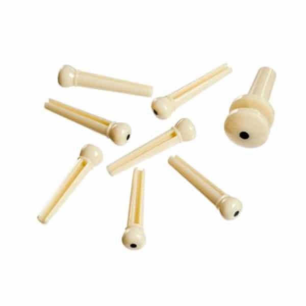 D'Addario - Planet Waves - Molded Bridge Pins with End Pin - Set of 7 -  Ivory with Black Dot - PWPS12