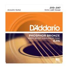 D'Addario EJ15 Phosphor Bronze Acoustic Guitar Strings – Extra Light – 10-47