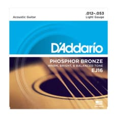 D'Addario EJ16 Phosphor Bronze Acoustic Guitar Strings – Light – 12-53