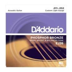 D'Addario EJ26 Phosphor Bronze Acoustic Guitar Strings – Custom Light – 11-52
