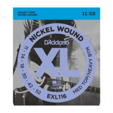 D'Addario EXL116 Nickel Wound Electric Guitar Strings – Medium Top/Heavy Bottom – 11-52