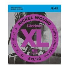 D'Addario EXL120 Nickel Wound Electric Guitar Strings – Super Light – 9-42
