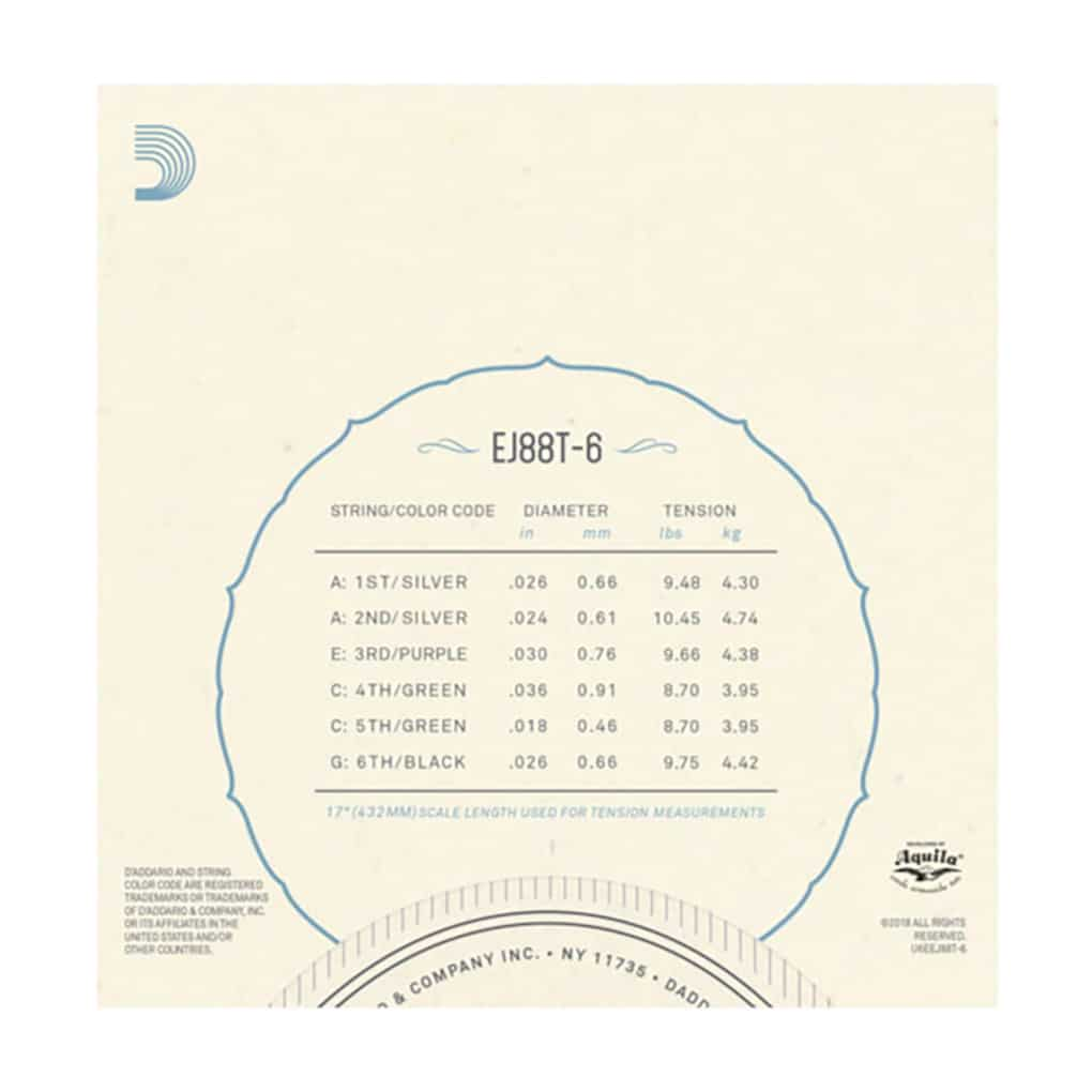 Ukulele Strings - D'Addario EJ88T-6 - Nyltech - 6 String Tenor Set - GCEA  High G Tuning