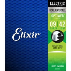 Elixir 19002 – Optiweb Electric Guitar Strings – Super Light – 9-42